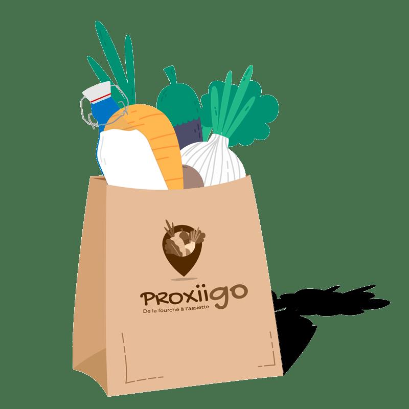 Sac en papier comprenant des produits locaux Proxiigo
